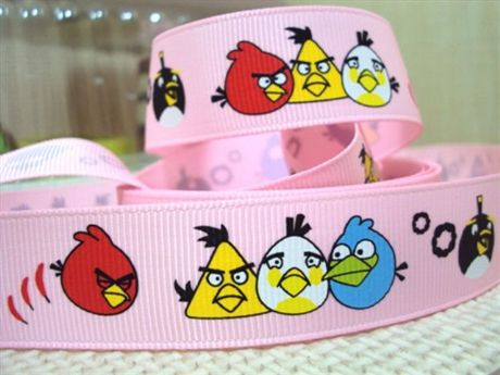 1 METRE PINK ANGRY BIRDS RIBBON 7/8 HAIR BOWS HEADBANDS BIRTHDAY CAKE CRAFTS
